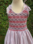 Smart Stripes - Sleeveless Smocking Dress in Red and Navy