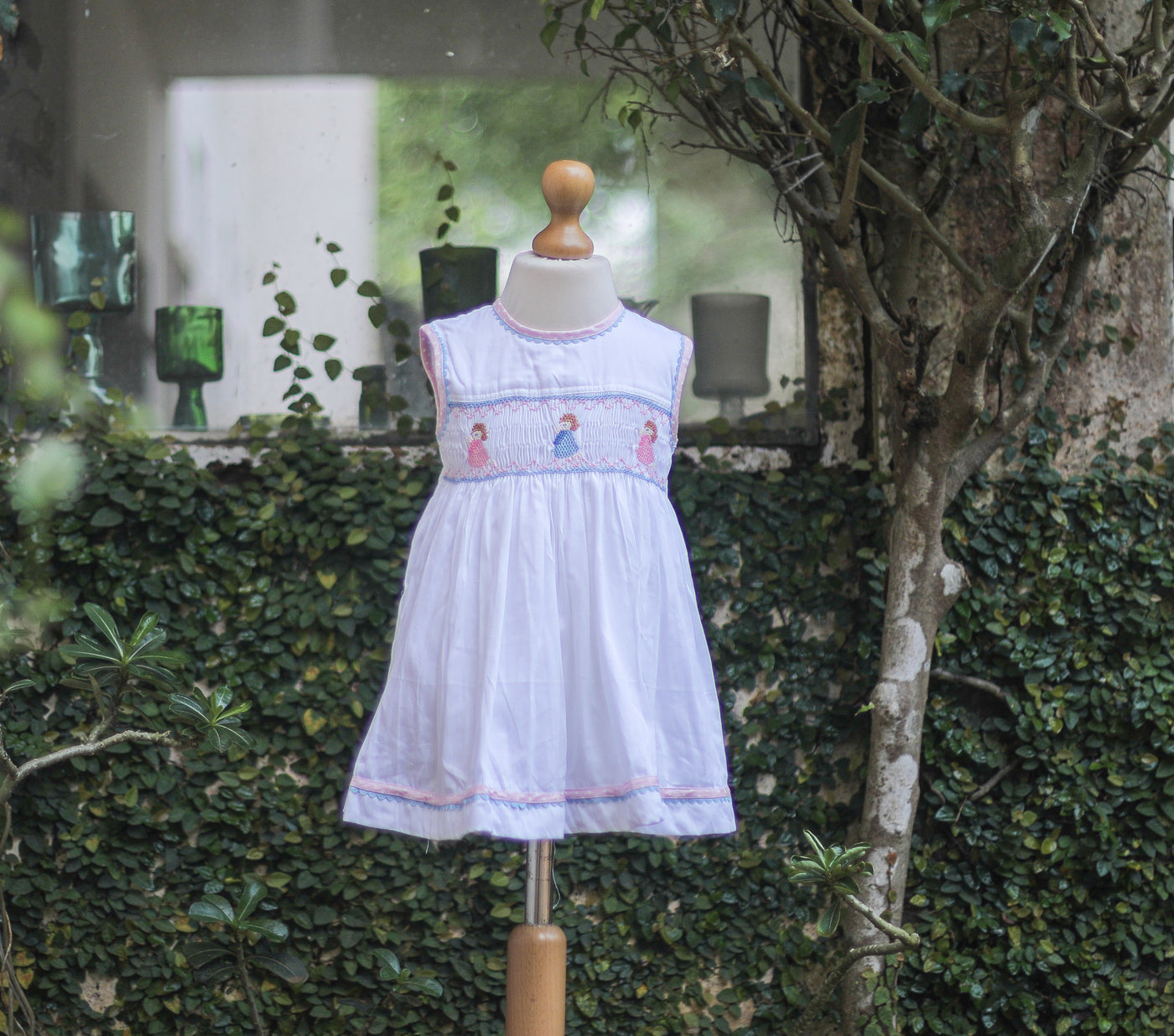 white cotton baby frock