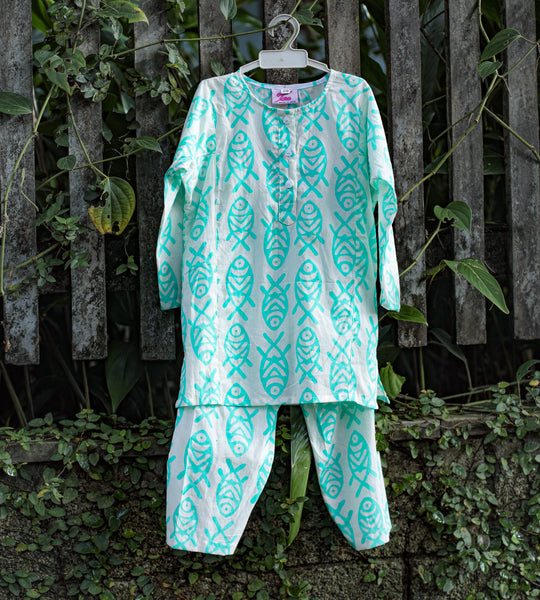 fish print kids nightwear