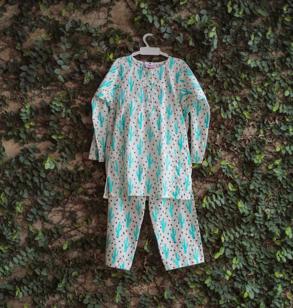 cacti print kids nightwear