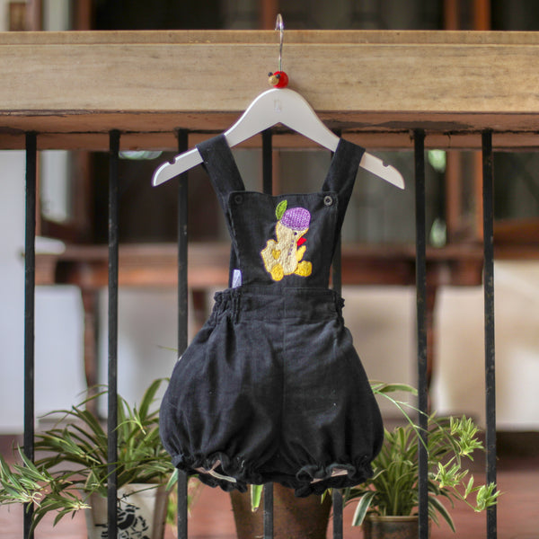 embroidered duck corduroy romper