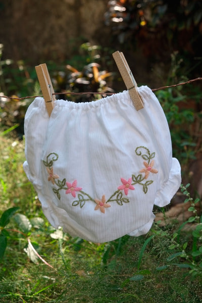 Bold Beige n Pink Flowers Hand Embroidered Diaper Cover