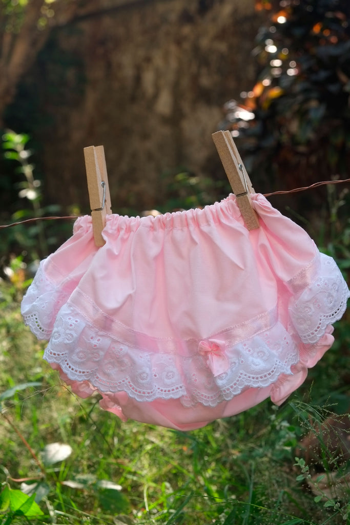 Frilly Pink Diaper Cover with Cotton Lace