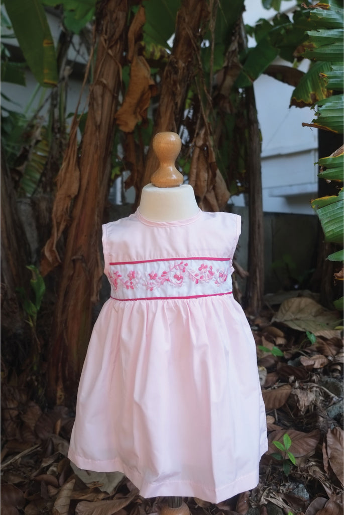 Pink Blended Fabric Dress with Piping