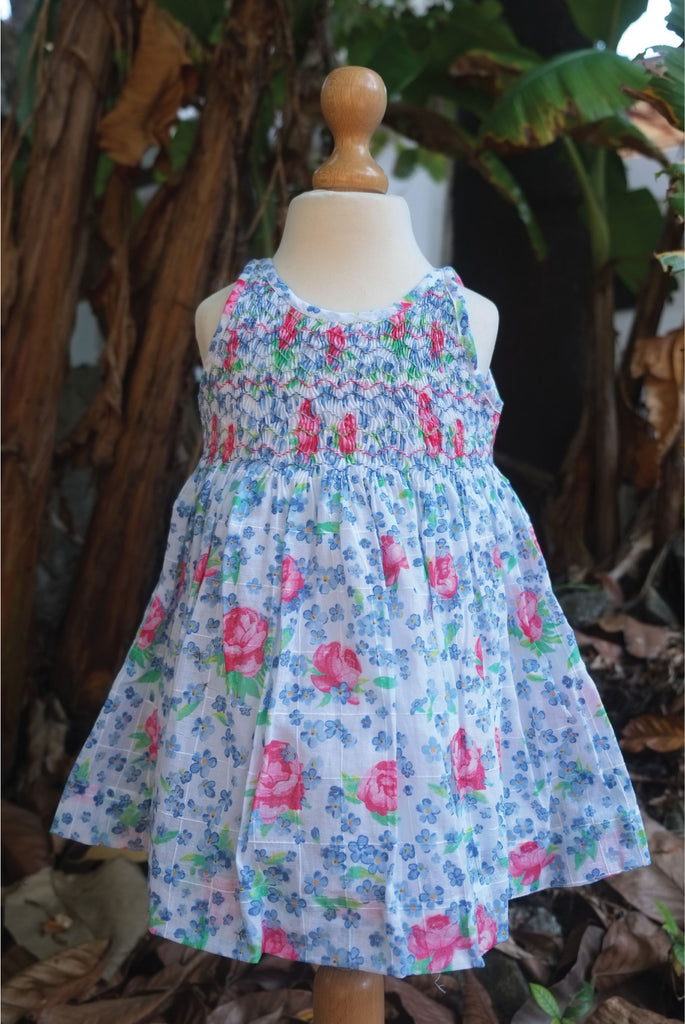 Pink n Blue Flowered Printed Cotton Dress