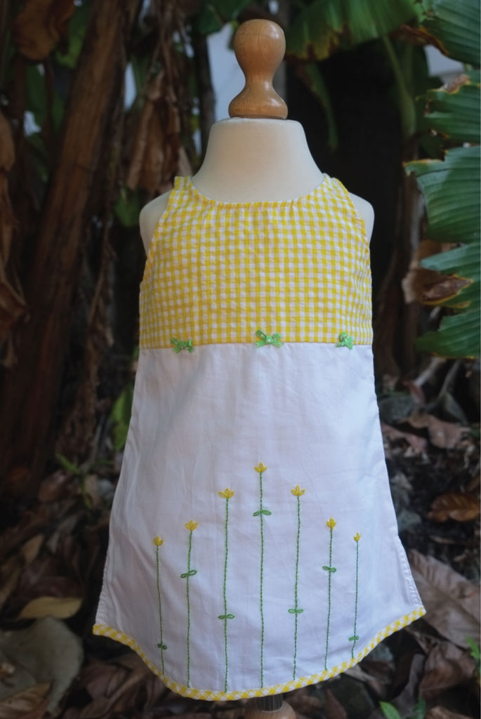 Lime Yellow Checked Yoke Sleeveless Dress
