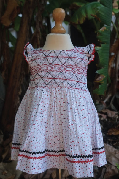 Smocked White Fabric with Floral Prints