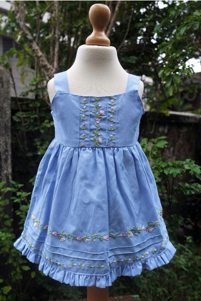 Hand Embroidered Sleeveless Dress with Pintucks