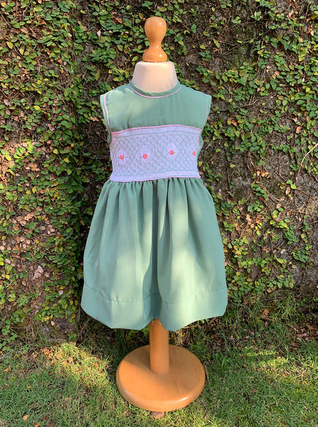 tea green crepe dress