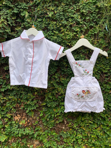 hand embroidered dungarees set