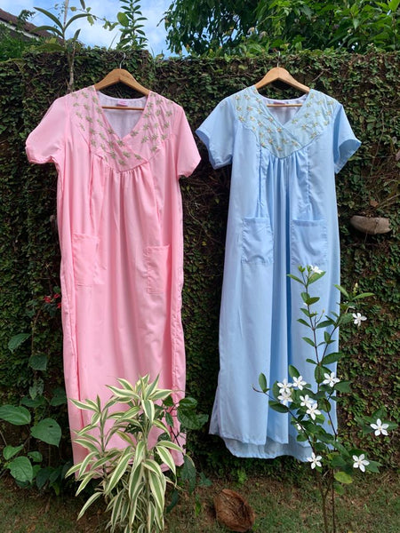 floral embroidered nursing nighty