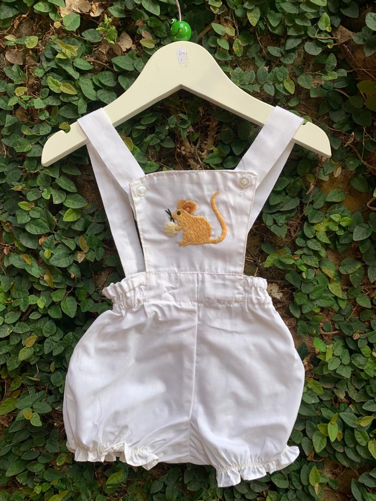 rabbit embroidered romper