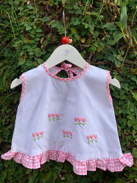 baby pink check dress