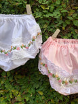 Floral Hand Embroidered Panties With Lace Borders