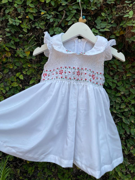 White Sleeveless Frill Smock Dress