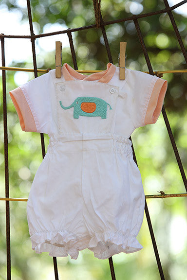 Blue Elephant on White Dungarees Set