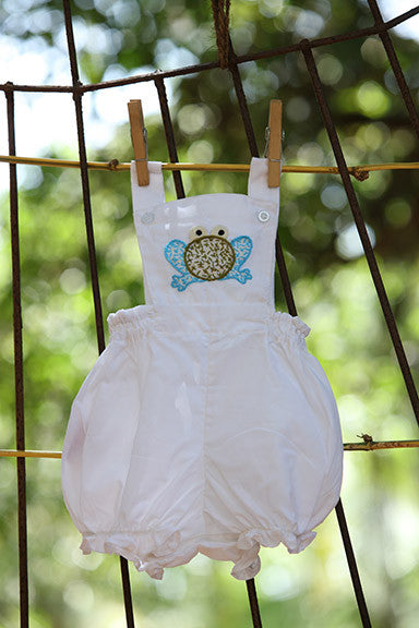 Fluffy frog White Rompers