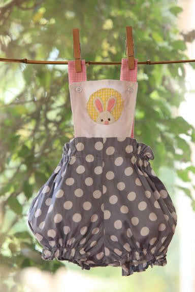 Peeping Bunny on Blue Polka Rompers