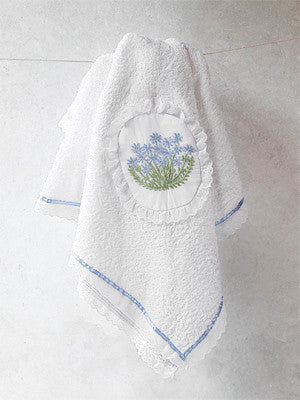 Blue Poppies Appliqué Patch Towel