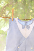 Blue stripe Baba suit with bow