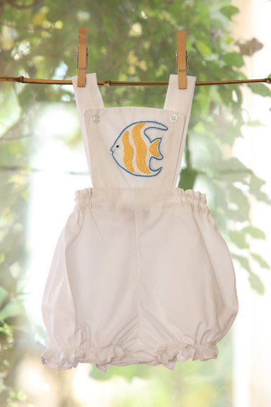 Flounder Fish on White Rompers