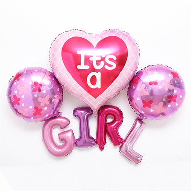 IT'S A GIRL - Baby Shower  4 Balloons Set Foil Balloon - bangkokkidsparty
