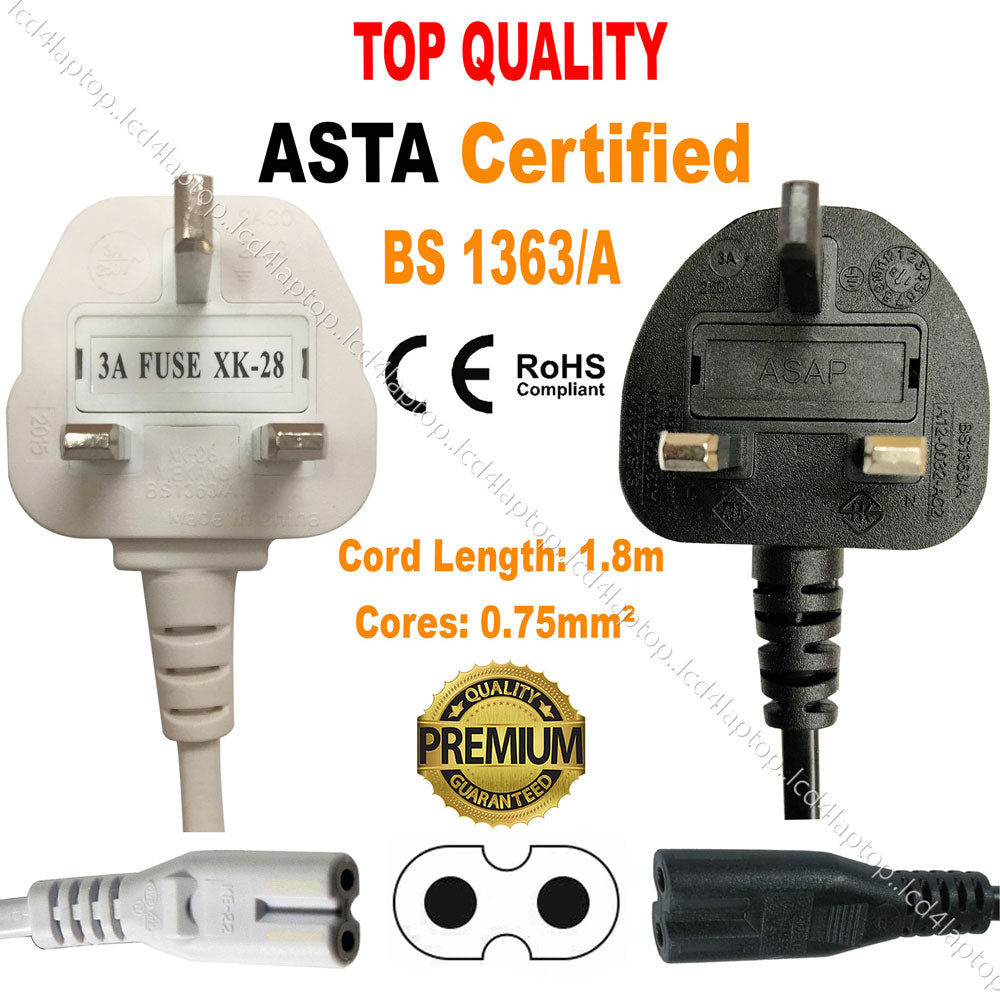 Fig8 Figure of 8 Mains Power Cable Lead For Philips Samsung LCD LED TV SKY BOX