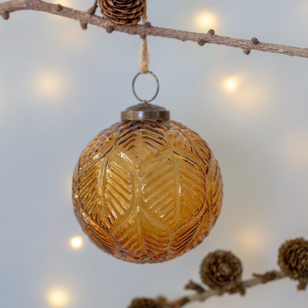 Glass Christmas Decoration Vintage Amber