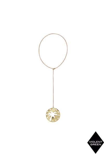EMMA MULHOLLAND x CELESTE TESORIERO-PALM TREE CLOCK DROP NECKLACE-BRASS