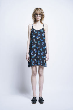 Karen Walker Illusion Dress Black Blue Bird Crepe De Chine