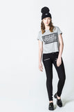 Cheap Monday Had Tee Stripe Logo Grey Melange