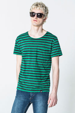 Cheap Monday Standard Stripe Pocket Tee Black Space Dye Clover Green
