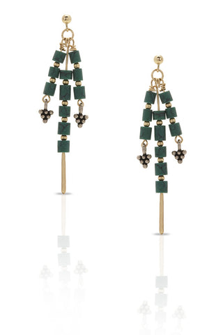Petite Grand Hanging Sanaa Earrings Gold Green Petite Grand is available in Brisbane Queensland Australia at Violent Green Albert Street store
