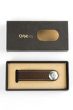 ORBITKEY CHOCOLATE WITH WHITE STITCHING LEATHER