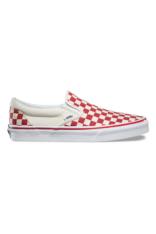 38c8b72ec46 Vans Primary Check Classic Slip On available in Racing Red   White vans is  available in