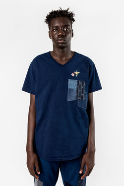FDMTL Fundamental Luxury Agreement Indigo Patchwork Pocket V Tee Indigo