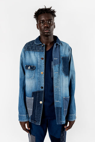 FDMTL Fundamental Luxury Agreement Patchwork Coverall 2 Year Wash Indigo FDMTL Fundamental Luxury Agreement is available in Brisbane Queensland Australia at Violent Green Albert Street store