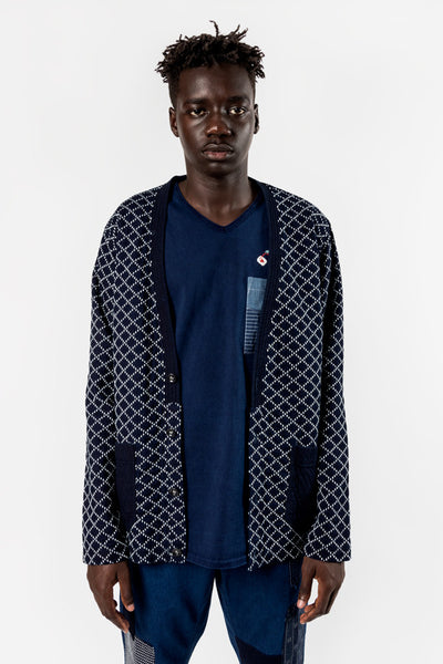 FDMTL Fundamental Luxury Agreement Sashiko Cardigan Indigo