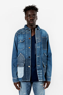 FDMTL FUNDAMENTAL LUXURY AGREEMENT PATCHWORK COVERALL 2YR WASH INDIGO