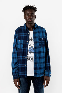 FDMTL Fundamental Luxury Agreement Indigo Check Shirt Blue