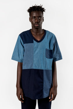 FDMTL Fundamental Luxury Agreement Boro Patchwork Pull Shirt Rinse Indigo