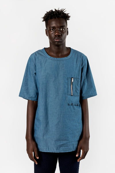 FDMTL Fundamental Luxury Agreement Indigo Pocket Pull Shirt Blue