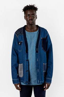 FDMTL Fundamental Luxury Agreement Patchwork Cardigan Jacket Rinse Indigo