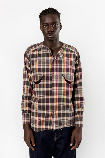 Bukht No Collar Western Shirt Brown Check Bukht is available in Brisbane Queensland Australia at Violent Green Albert street store