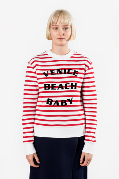 Etre Cecile Venice Beach Baby Slim Fit Sweatshirt Red Breton Stripe ETRE CECILE IS AVAILABLE IN BRISBANE QUEENSLAND AUSTRALIA AT VIOLENT GREEN ALBERT STREET STORE