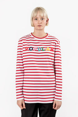 Etre Cecile Popular Long Sleeve T-shirt Red Breton Stripe Etre Cecile is available in Brisbane Queensland Australia at Violent Green Albert Street store
