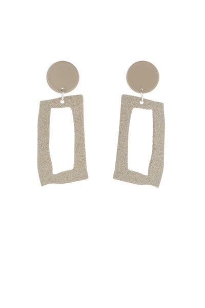 Bianca Mavrick Frame Earrings - Tan / Ecru