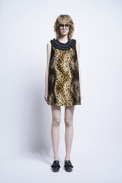 Karen Walker Gato Dress Black Tan Crazy Cat Velour Crepe De Chine