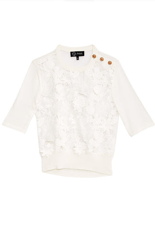 SRETSIS GARDEN SWEATER available in WHITE BLOSSOM