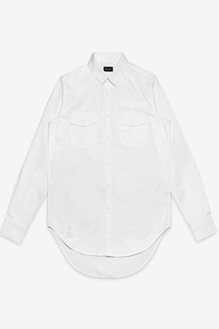 STAMPD Repaired Denim Shirt White stampd is available in brisbane queensland australia at violent green albert street store